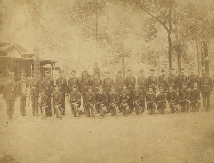 Members of the Montgomery Greys, Company A, 2nd Regiment of the Alabama State Troops, at Oak Park, Montgomery, Alabama (Alabama Department Archives & History)