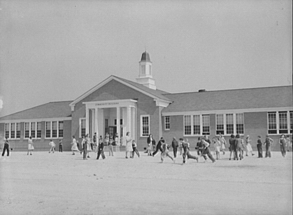 New school and community building. Goodman School at noon hour. Coffee County, Alabama