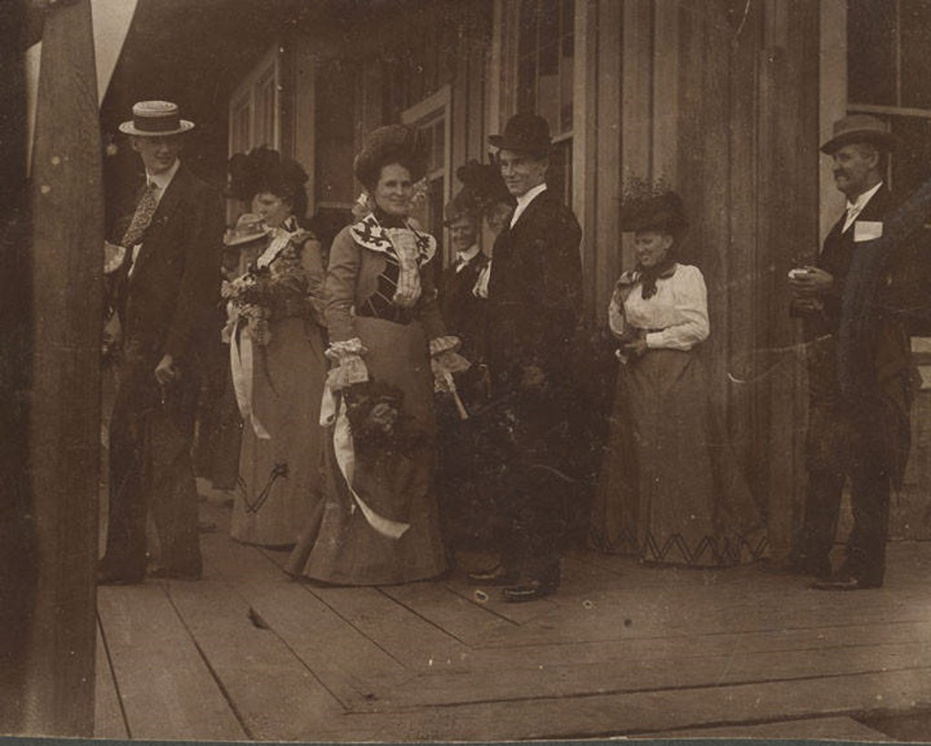 Noble, Mr. and Mrs. Elias Story Noble at the train station in Tallassee, Alabama, after their wedding. October 3, 1900. They are leaving for their new home in Opelika, Alabama. Q10274