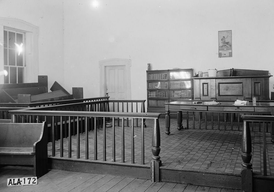 Wilcox County Courthouse, Broad, Claiborne, Court & Water Streets, Camden, Wilcox County, ALAlex Bush, Photographer, January 8, 1937 LOOKING NORTH EAST IN COURT ROOM -