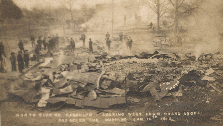 North Side of Randolph Looking West from Brand Store Day After the Burning Jan 10th 1912 photographer J. T. Weeks, Randolph, Alabama Q9467