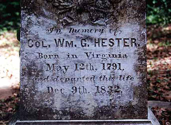 Tombstone of Col. Wm. G. Hester