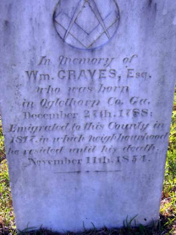 William Graves tombstone - Autauga county, Watts brown rootsweb ancestry