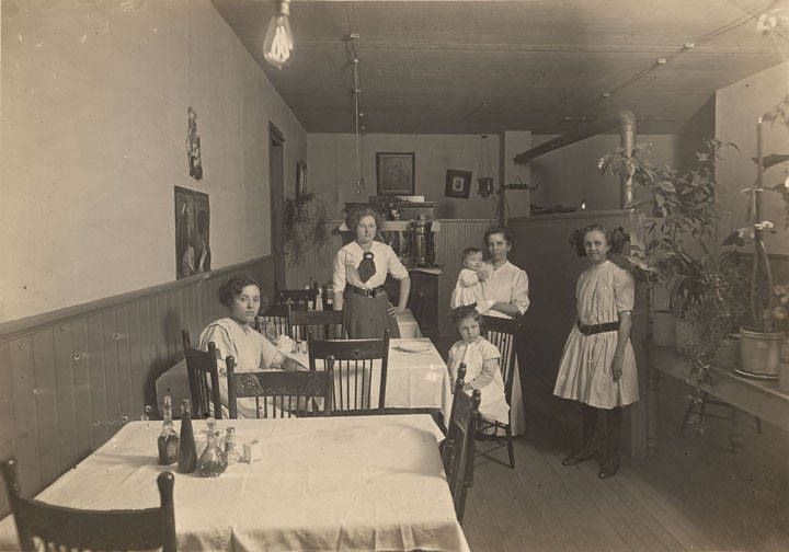"Women and girls in a café in Cullman, Alabama ca. 1910 - The back of the photograph says,""Engelhart"" photographer Emil Kroessman - Q8557"