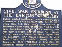 The town of Barton, Alabama didn't move but was located in two counties at various times