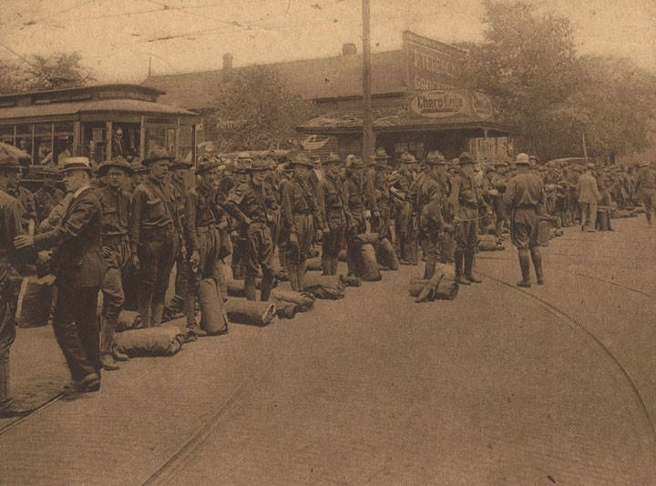 Birmingham Citizen Soldiery Leave for the Mexican Frontier Battery C awaiting orders to march. July 30, 1916 Birmingham View Company Q9641