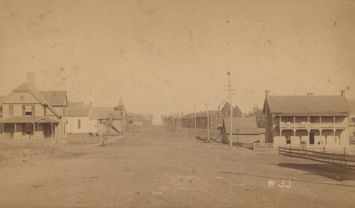 Buildings along a wide dirt road in Fort Payne, Alabama ca. 1880-1889 by O. W. Chase (ADAH)