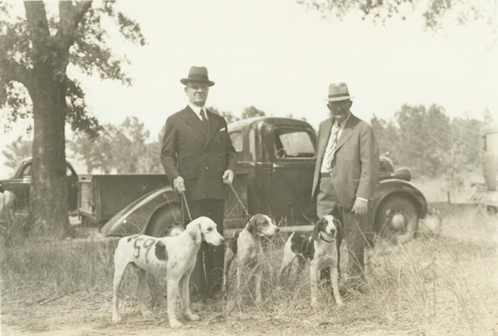 Congressman Harry Steagall with his three favorite hunting dogs at the Southeast Fox Hunters Association in Barbour County, Alabama October 1938 Alabama Writers' Project Q456