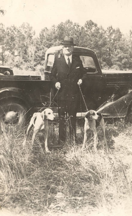 Congressman Henry Steagall with two dogs at a fox hunt in Barbour County, Alabama.October 1938 Alabama Writers' Project Q2262