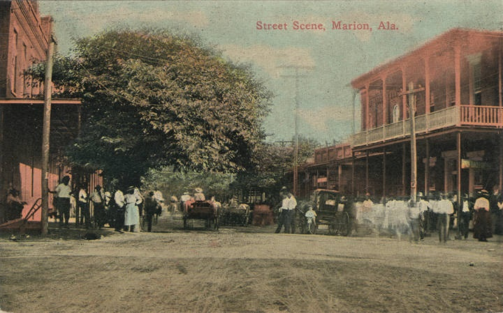 Downtown Marion postcard ca. 1900 (Alabama Department of Archives and History)