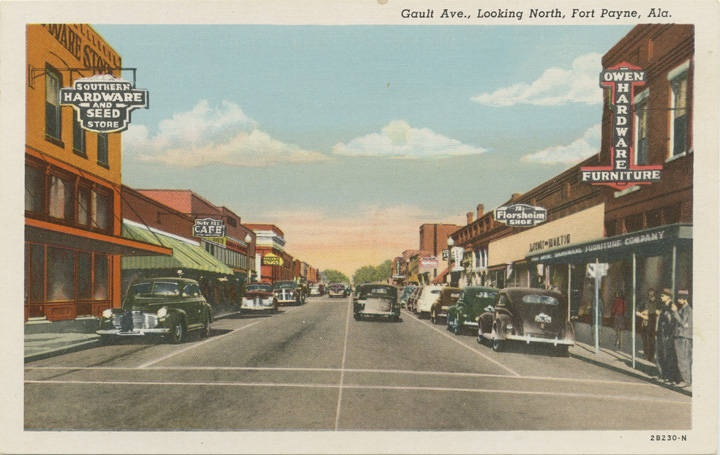 Gault Ave., Looking North, Fort Payne, Alaca. 1930s (Alabama Department of Archives and History)