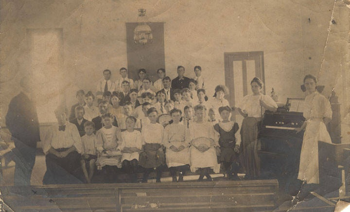 Group of children and adolescents inside the old Baptist church in Randolph, Alabama ca. 1900 Q9451