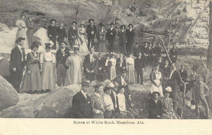 Scene at White Rock, Hamilton, Ala May 15, 1908 postcard (Alabama Department of Archives and History) Q8688