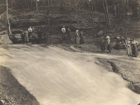 Young women at Davis Falls near Montevallo, Alabama photographed by R. W. Carleton, Montevallo, Alabama Q8926