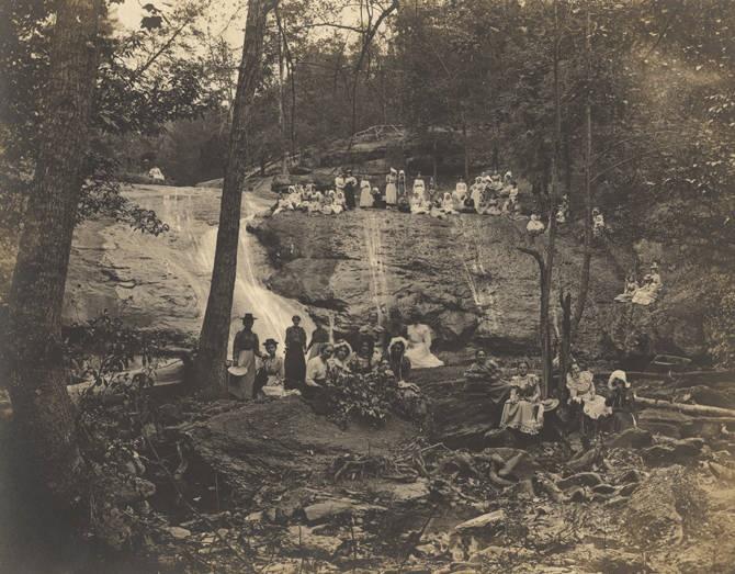 Young women at Davis Falls near Montevallo, Alabama photographed by R. W. Carleton, Montevallo, Alabama Q8927
