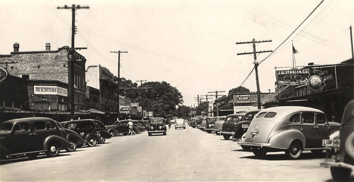 1930s business section on North Main Street in Atmore, Alabama