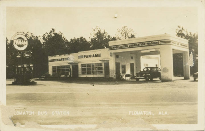 Flomaton Bus Station, Flomaton, Ala postcard ca. 1940-1949 Q70488