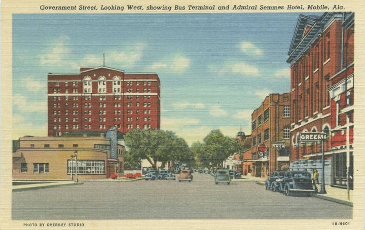 Government Street, Looking West, Showing Bus Terminal and Admiral Semmes Hotel, Mobile, Ala postcard ca. 1930-1949 - Q54813