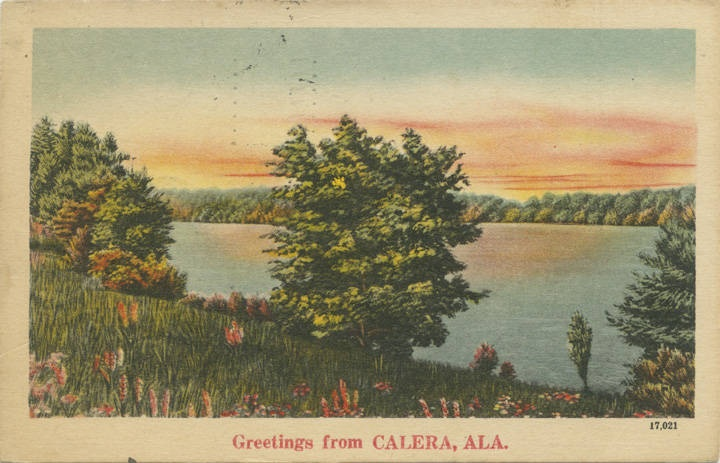 Greetings from Calera, Ala postcard ca. 1940s Q69121