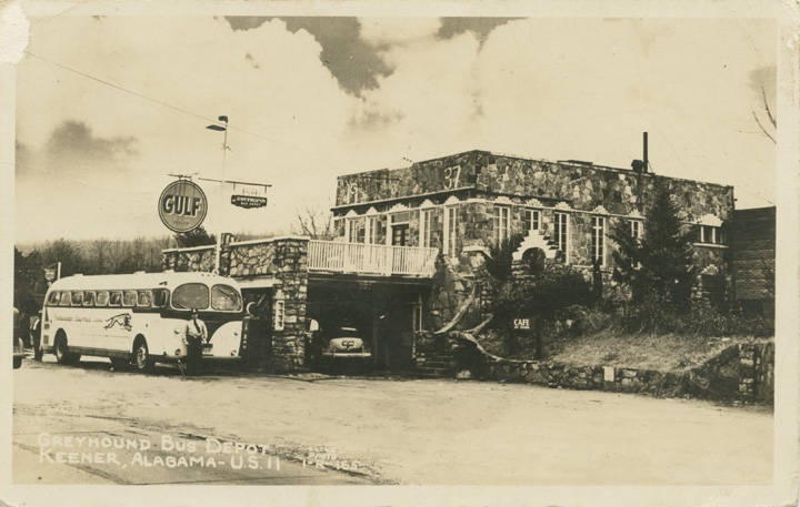 Greyhound Bus Depot, Keener, Alabama - U.S. 11 – the postmark date on the back of the postcard is June 2, 1946 Q70394