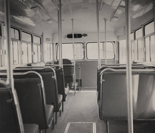 Interior of a bus (facing front) built by the Southern Coach Manufacturing Company in Evergreen, Alabama. ca. 1940-1949 photographer Clayton Albert, Birmingham, Alabama Q36707