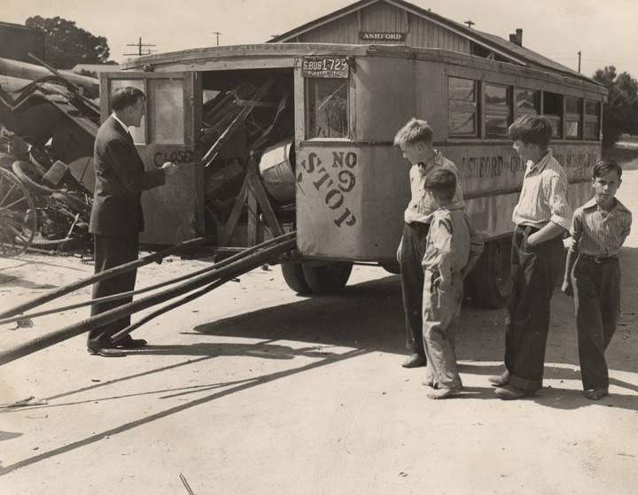 School bus in Ashford, Alabama, loaded with scrap metal ca. 1941-1945. The metal was collected for a salvage drive during WW II Q7772
