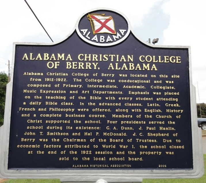 Alabama Christian College sign