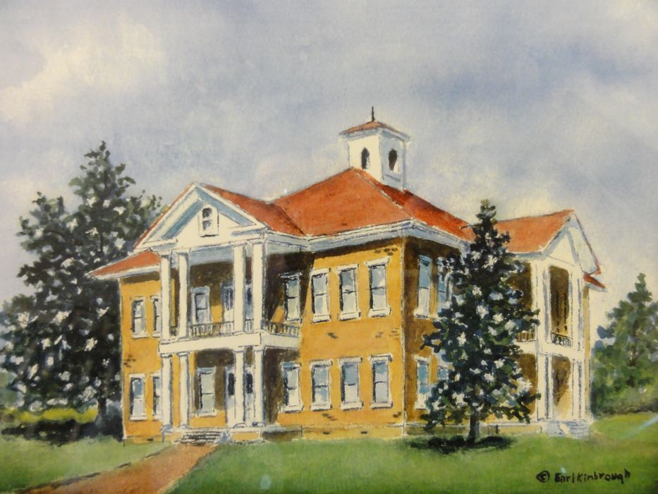 Artist rendition of the old Alabama Christian College Building in Berry, Alabama by Artist Earl Kimbrough
