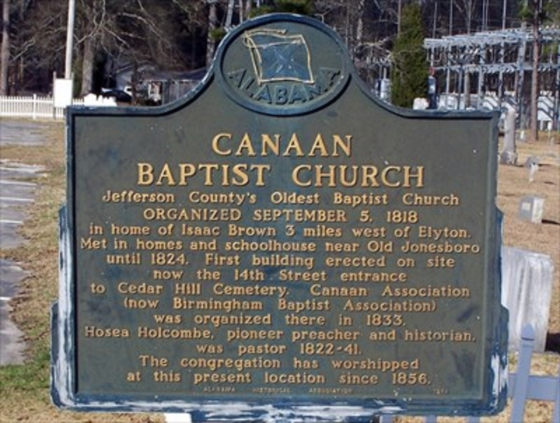 Canaan Baptist oldest church marker