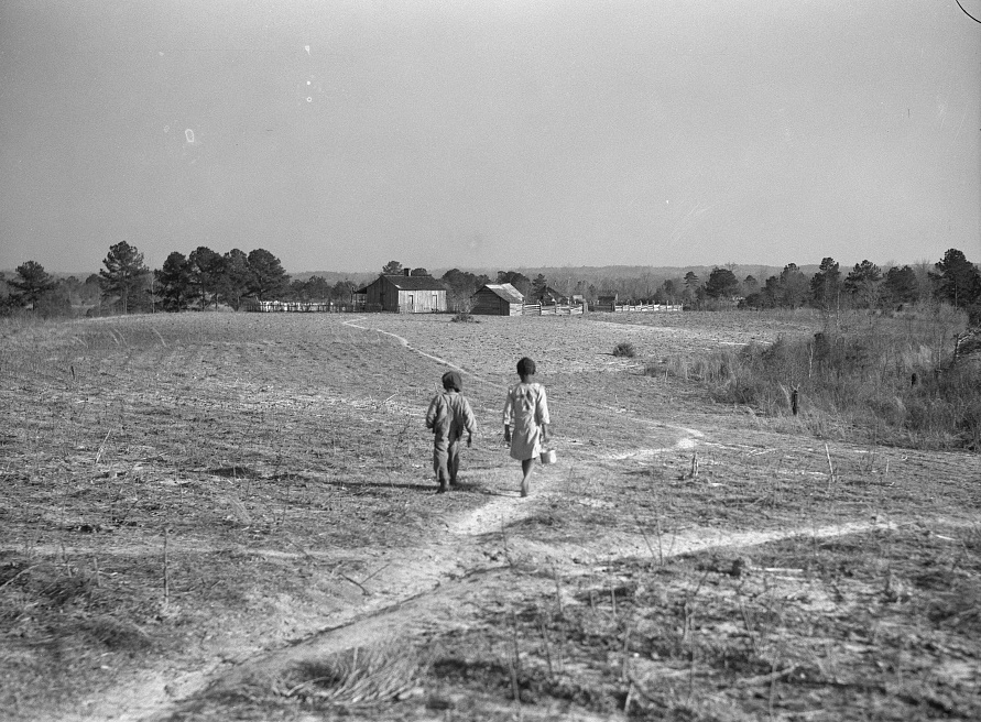 Footpaths across the fields connected the cabins in 1937