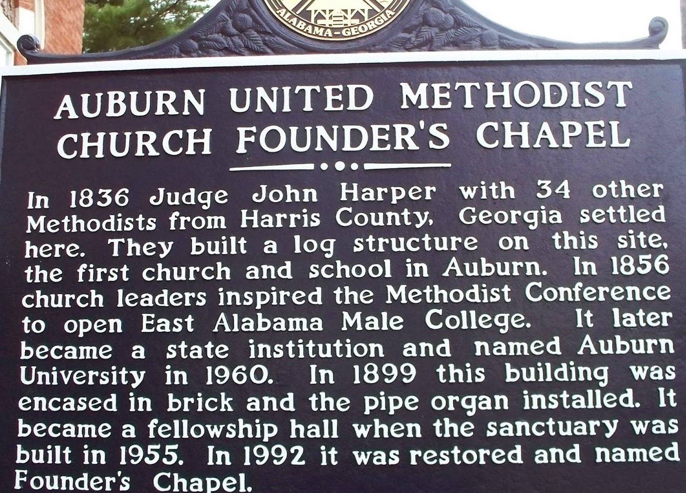 METHODIST CHURCH, Auburn United Methodist Church Auburn Alabama South Gay Street Chapel History Sign, UMC Lee County Auburn AL.