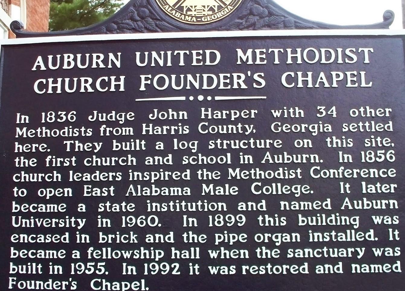 METHODIST CHURCH, Auburn United Methodist Church Auburn Alabama South Gay Street Chapel History Sign, UMC Lee County Auburn AL.
