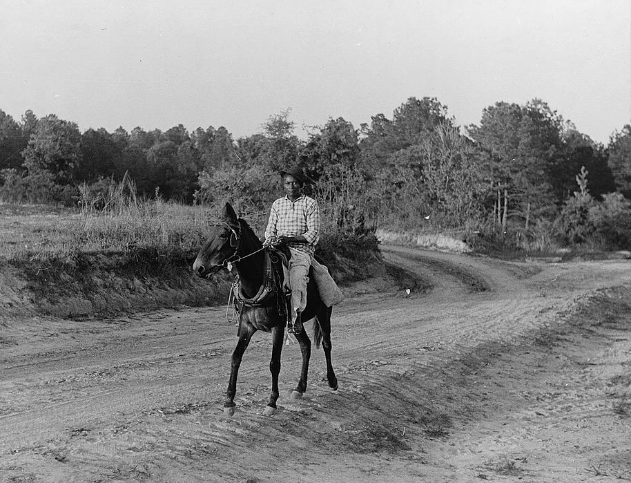 Martha Mosely coming from the store. She manages and runs her own farm and made three bales of cotton last year. Gees Bend, Alabama