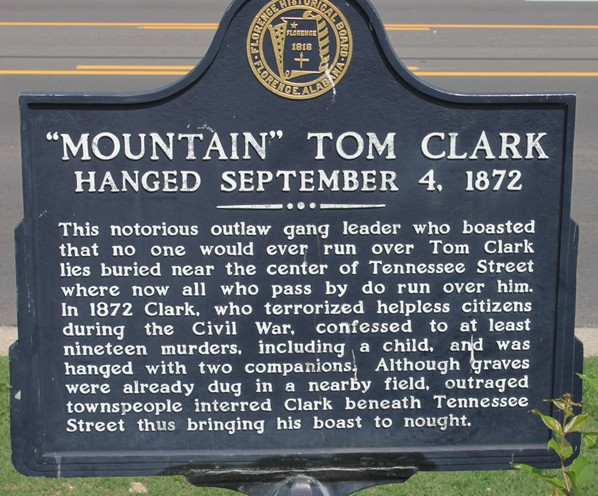 Outlaw Mountain Tom Clark is buried under Tennessee Street in
