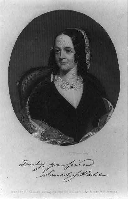 Thanksgiving - Sarah Josepha (Buell) Hale, 1788-1879, oval, half-length portrait ca. 1850 (Library of Congress)