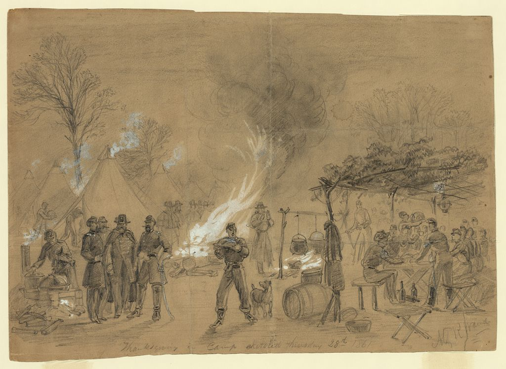 Thanksgiving in camp 1861 sketch (Library of Congress)