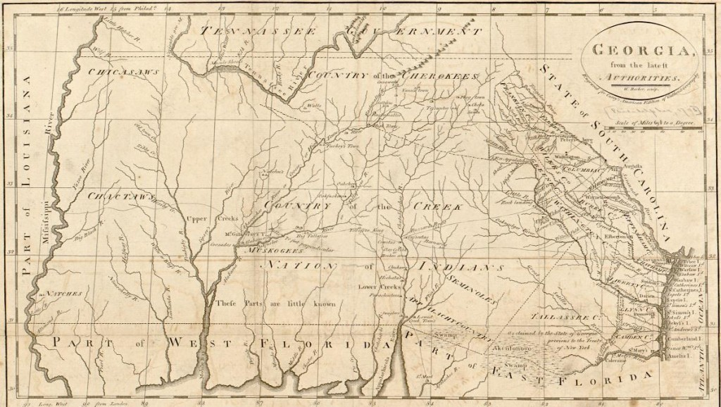 1795 map by William Barker (Library of Congress) shows Native American territory in the center and Mississippi River far left