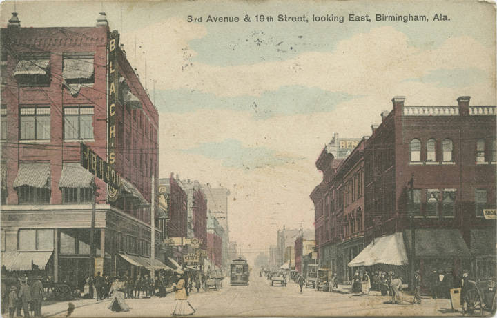 1st Ave. West from 21st St. showing Brown-Marx building postcard 1908 (ADAH)