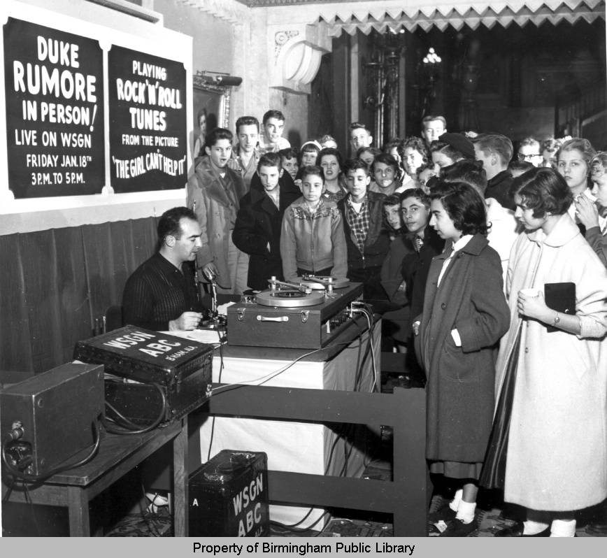 Duke_Rumore_broadcasting_live_from_the_Alabama_Theatre_lobby by Charles Preston 1 -18-1957
