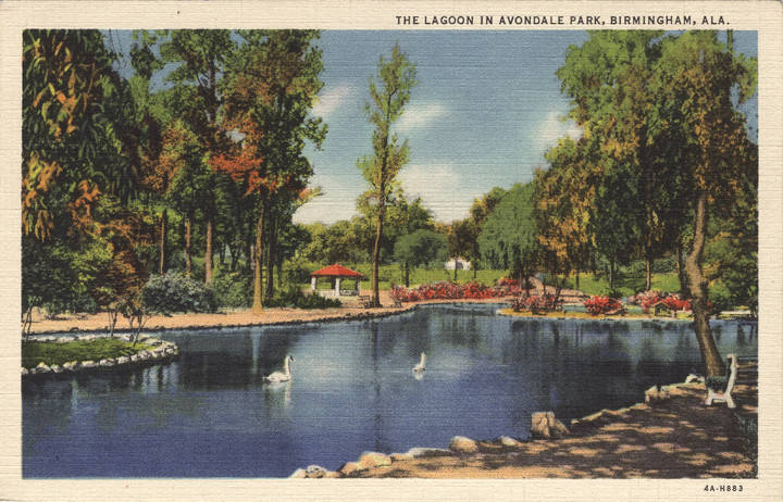 The lagoon at Avondale Park, Birmingham, ca. 1930s (ADAH)