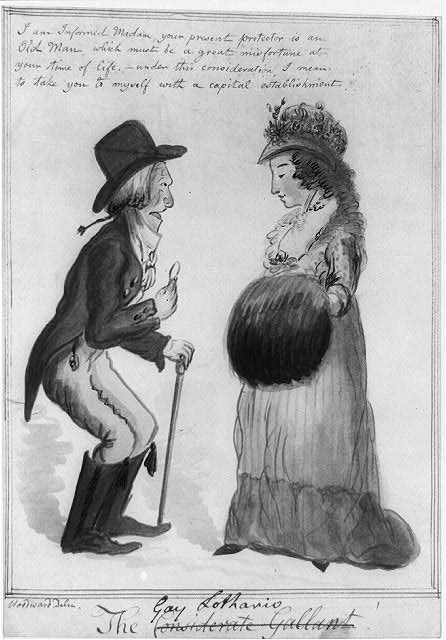 A homely, elderly man dressed in fashionable clothing ogles a pretty young woman standing opposite him, with her hands in a large muff. 1805. (Library of Congress)