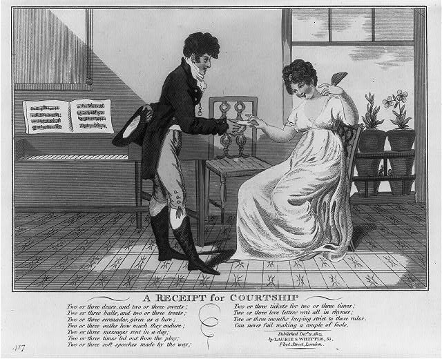 Courtship -Print shows a young man handing a young woman a note. Text of poem is caricature of romantic courtship. (Library of Congress)