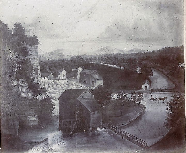 Painting of Big Spring and water works in Huntsville ca. 1850 by Laura Bassett (Alabama Department of Archives and History