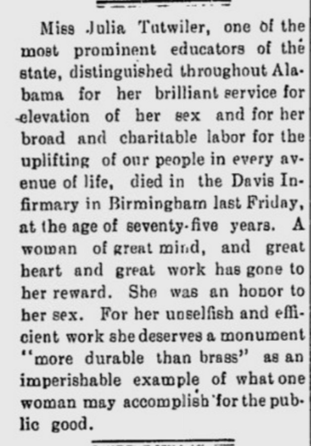 Tutwiler, Julia - death notice in Florence Times