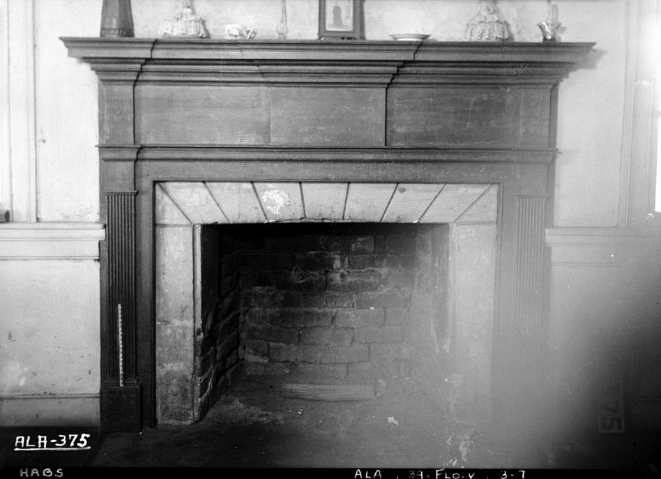 fireplace 1st floor rear bedroom W. N. Manning, Photographer, FEB. 2, 1934. Forks of Cypress, Florence, Lauderdale County, AL