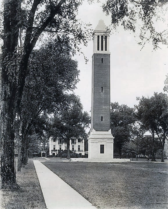 Denny Chimes and the president's mansion on the campus of the University of Alabama in Tuscaloosa, Alabama. ca. 1930s (ADAH)