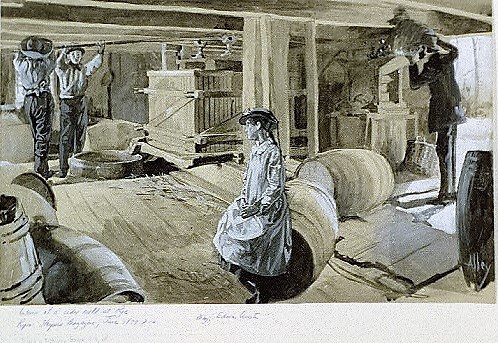 Interior of a cider mill (Library of Congress)