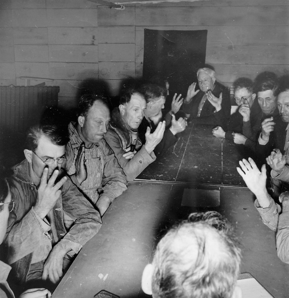 Men at coucil meeting SC. 1939 by Dorothea Lange (Library of Congress)