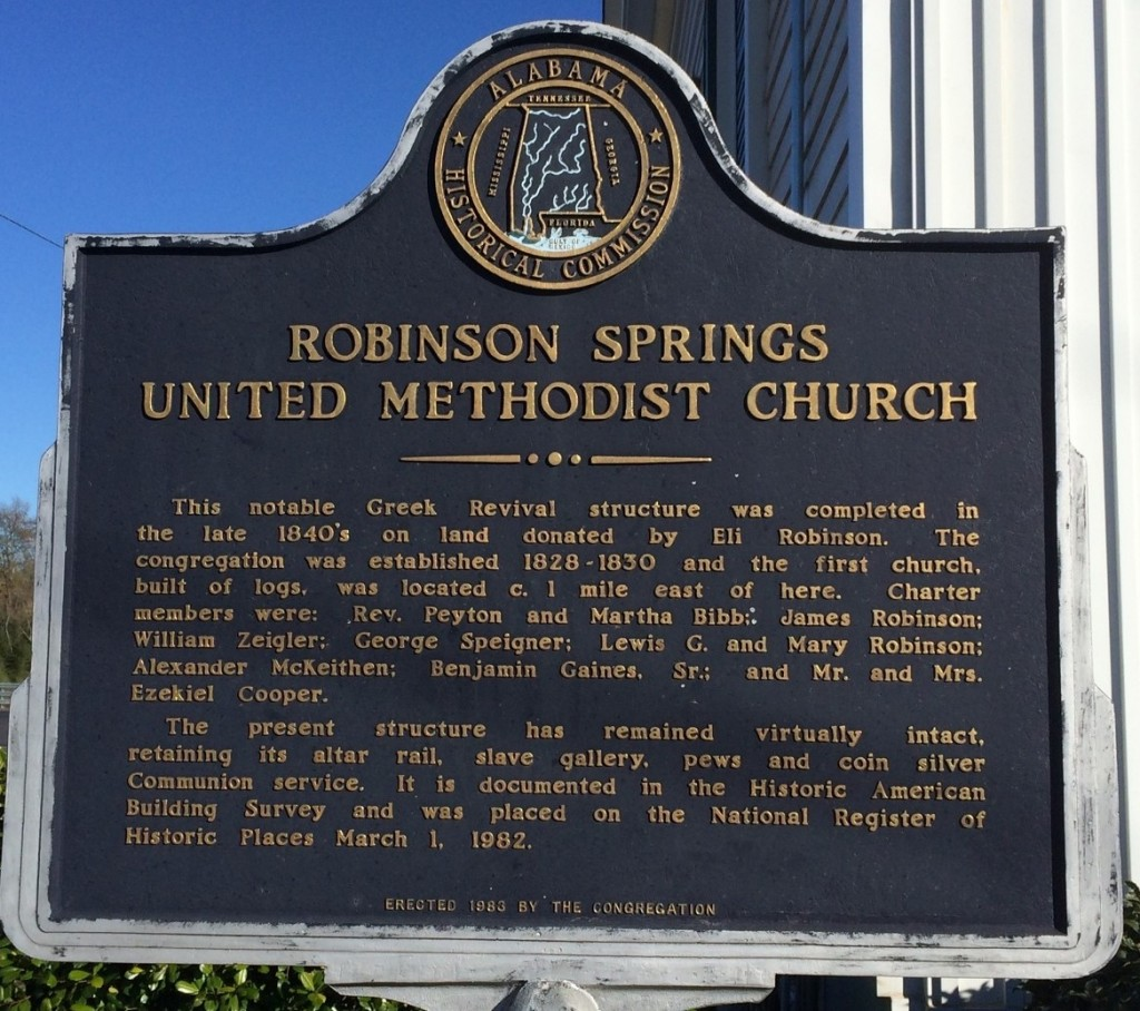 Robinson Springs United Methodist Church Marker