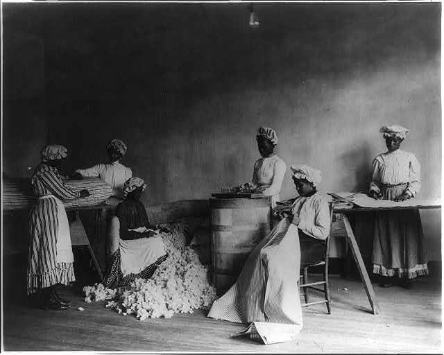 African American students in mattress-making class, Tuskegee Institute, Tuskegee, Ala ca. 1902 (Frances Benjamin Johnston, Library of Congress)